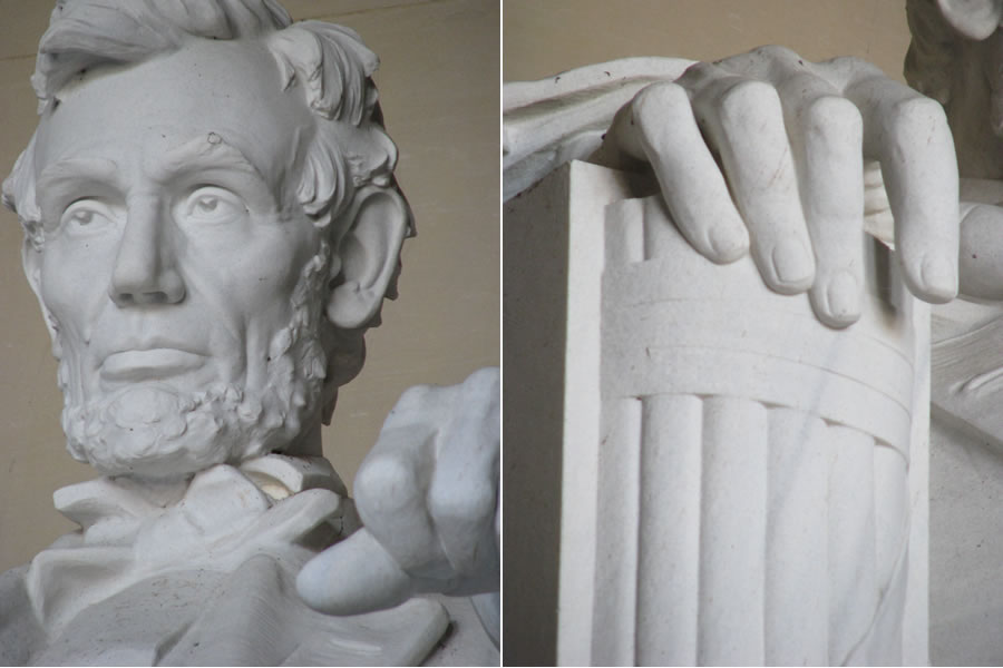 Lincoln Memorial Washington DC close up head and hand