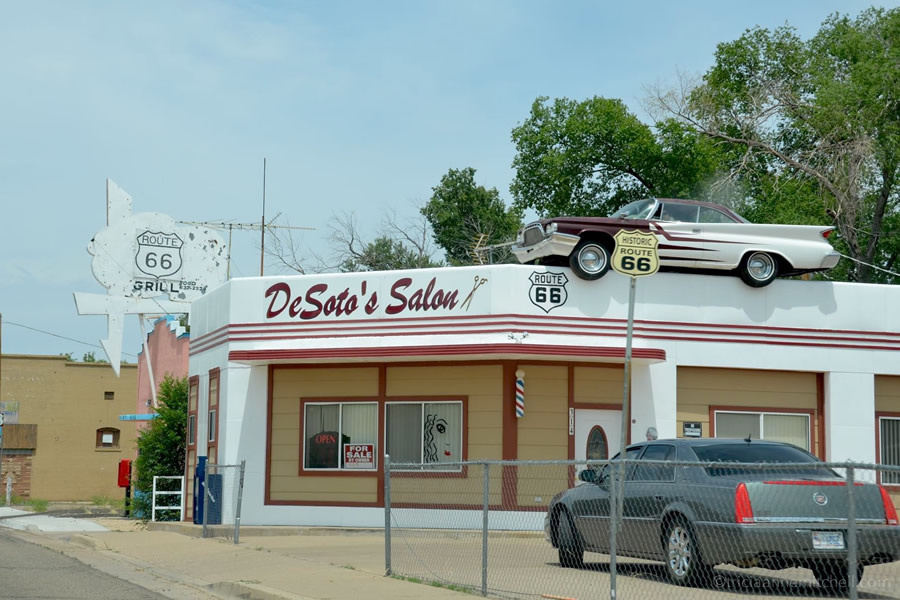 A Route 66-era gas station turned hair salon in Ash Fork, Arizona.