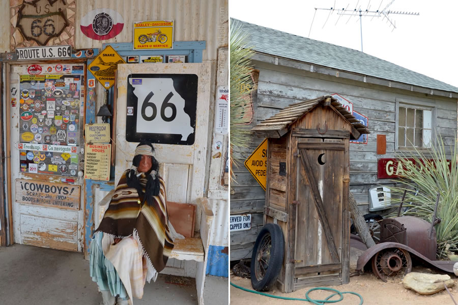 A Native-American mannequin (left) and a weathered outhouse (right) at the Hackberry General Store, along Route 66.