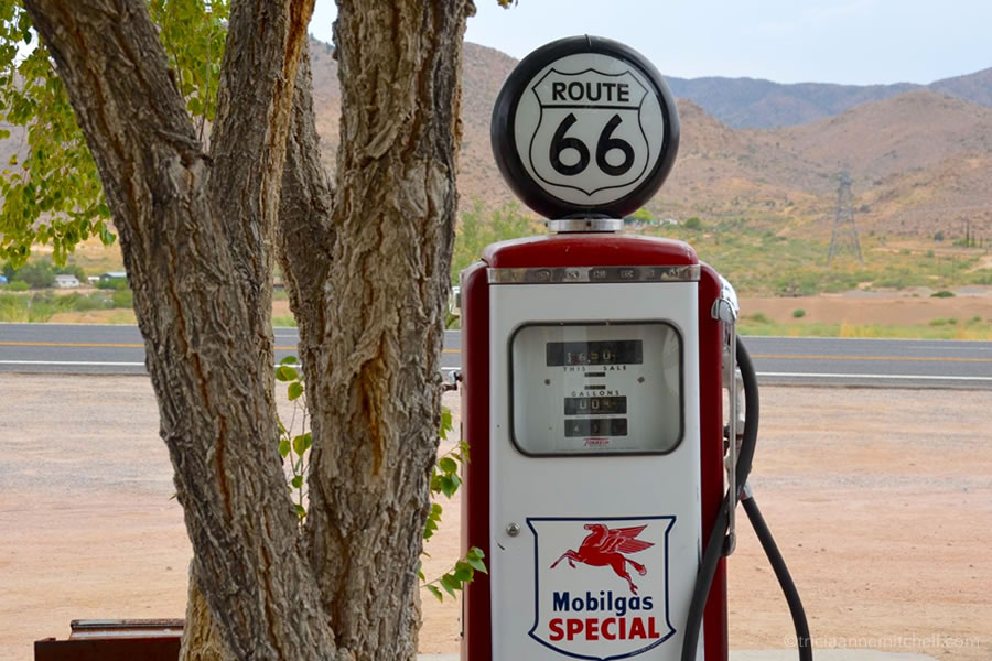 A vintage red gas pump at the Hackberry General Store along Route 66.