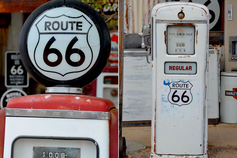 Vintage gas pumps at a Route 66 gas station.