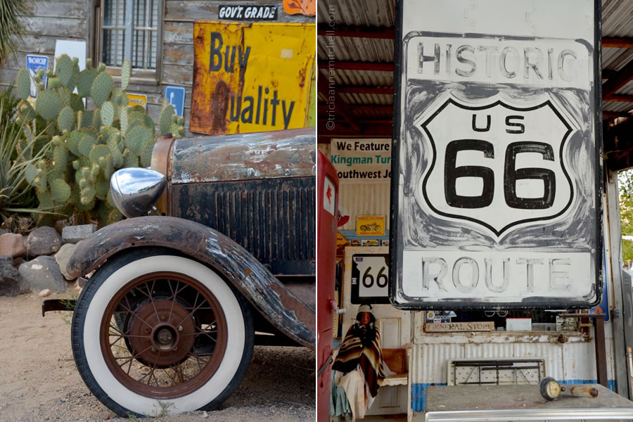 vintage Route 66 signs and wheels at a general store in Arizona.