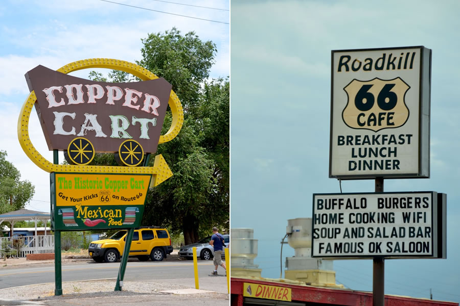 The Copper Cart (vintage sign) and Roadkill Cafe (contemporary sign) in Seligman, Arizona along Route 66.