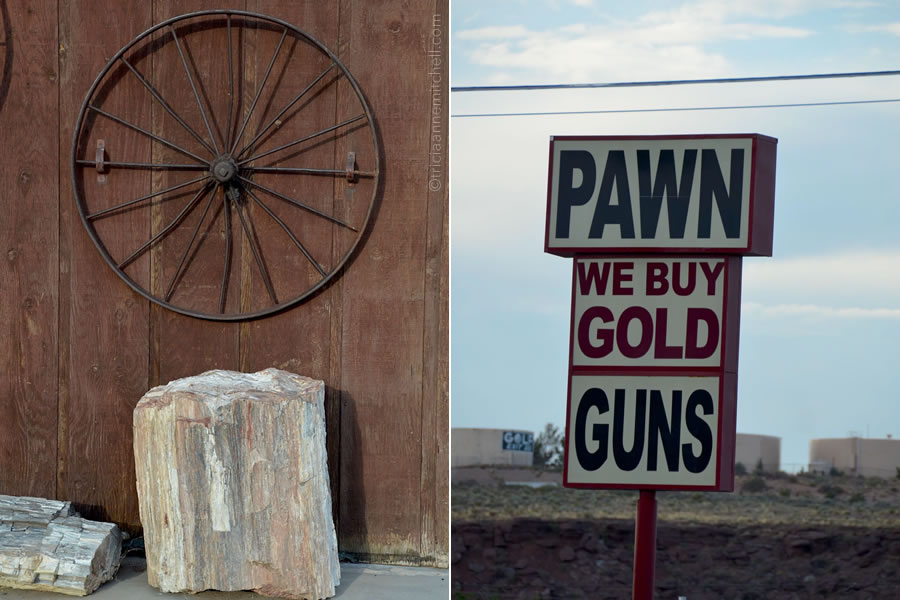 Along Route 66 a wagon wheel hangs on a wall, with a piece of petrified rock below it. On the right, a pawn shop sign advertises guns and gold.