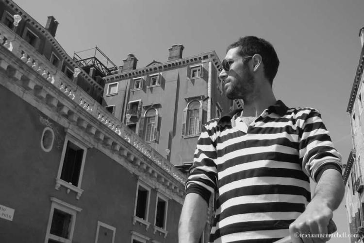 Venice Italy Gondolier black white