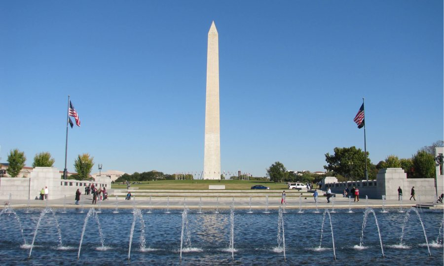Fountains run in the foreground, with the Washington Monument as the focal point.