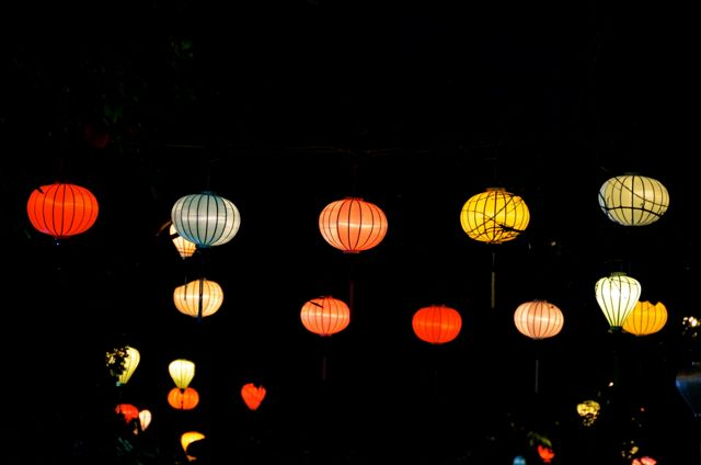 Lanterns hanging in Hoi An Vietnam