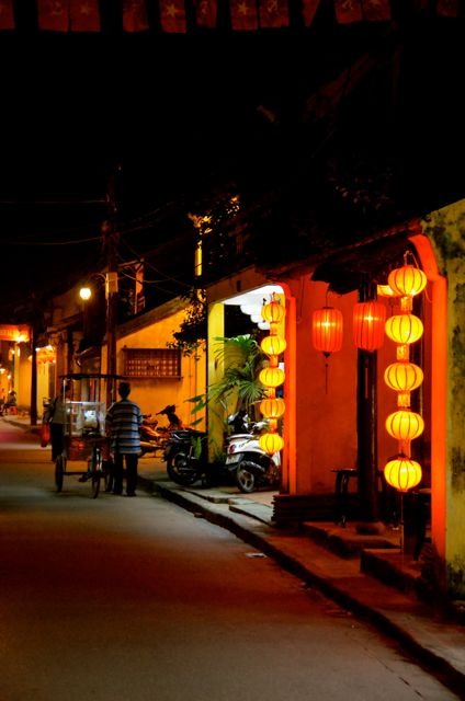 Hoi an Vietnam streetscape by night