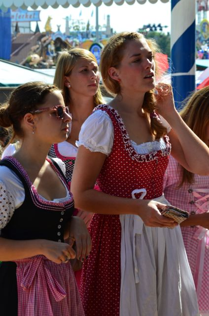 Girls in Bavarian costume at Oktoberfest