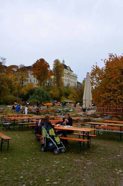 Picnic tables are set out at the Ludwigsburg Pumpkin Fest in Germany.