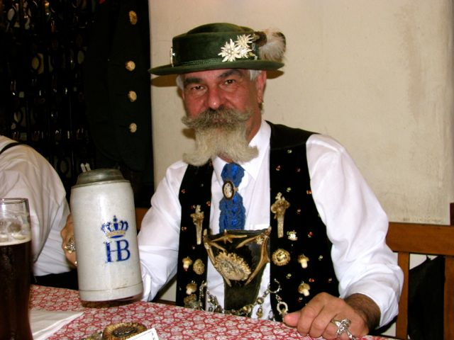 Man in Bavarian clothes at Hofbrauhaus in Munich