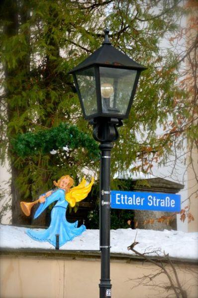 German street sign during holidays