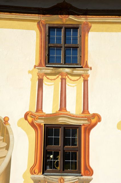 Oberammergau windows painted with the fresco technique.