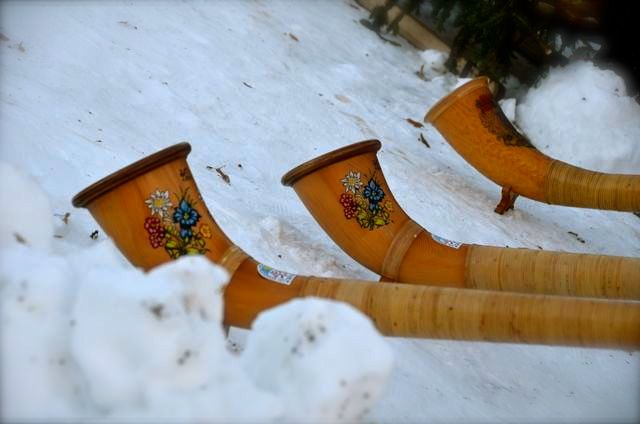 alphorns in the snow in Oberammergau Germany