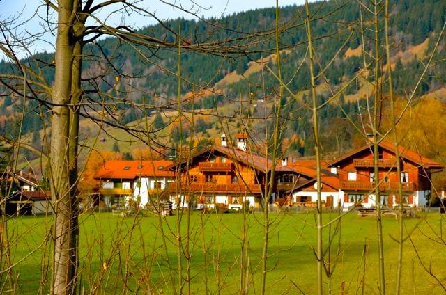 Oberammergau homes in meadow