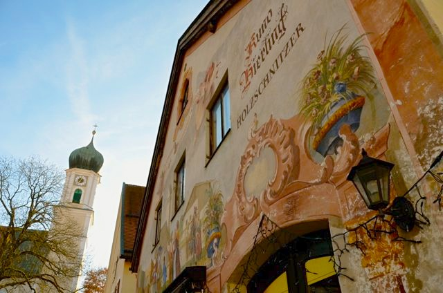 A building painted with traditional frescoes in Oberammergau, Germany.