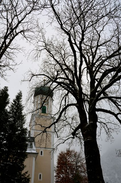 Oberammergau's main church on a grey, winter day.