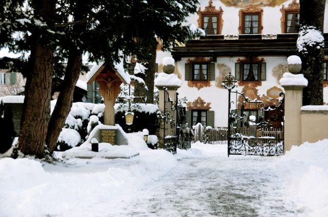 Oberammergau Cemetery in Snow