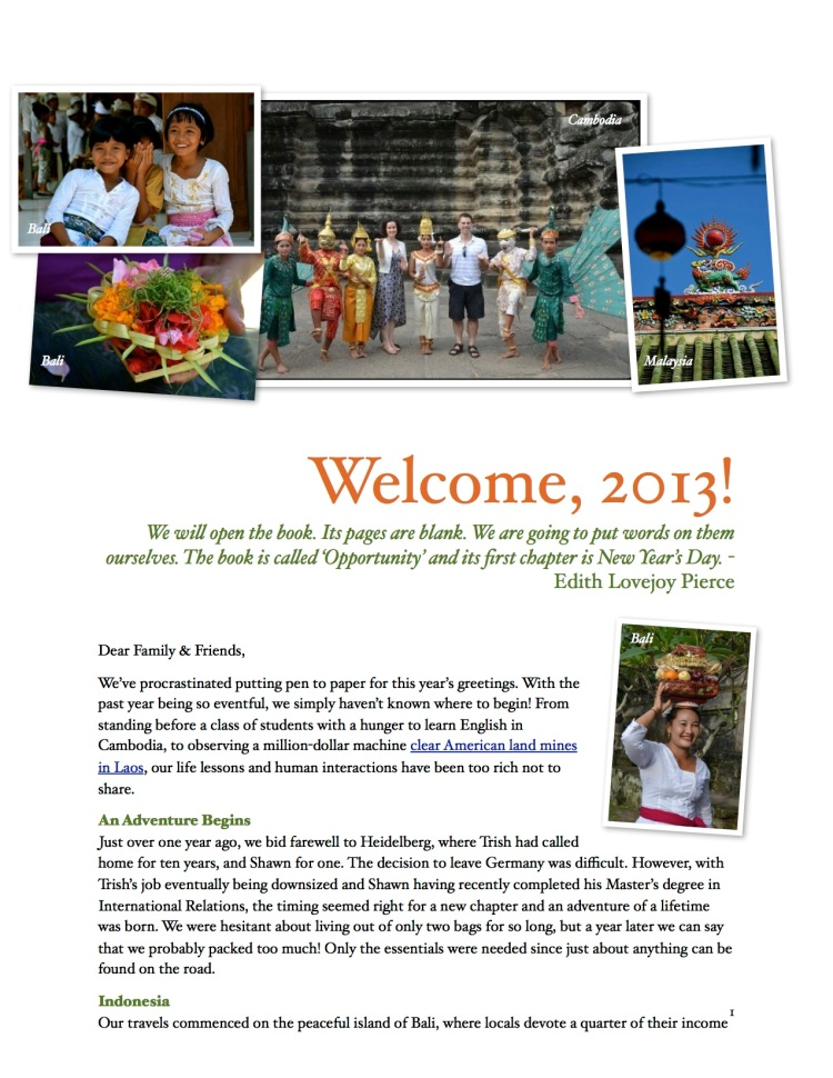 Holiday Newsletter 2013, page 1