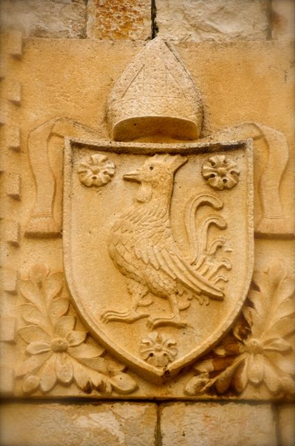 A coat of arms featuring a rooster in the Croatian town of Trogir.
