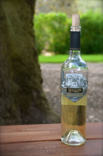 A bottle of Sauvignon Blanc wine at Ledson Winery in California.