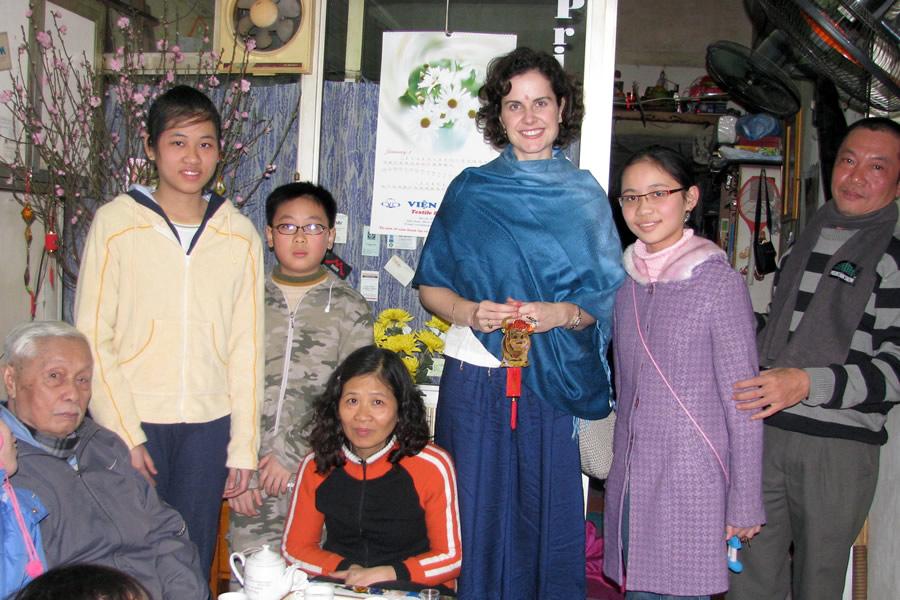 People celebrating the Vietnamese New Year (Tet) in Hanoi, Vietnam.