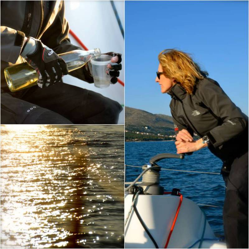 Adriatic Sea sparkling, woman tightening sail.