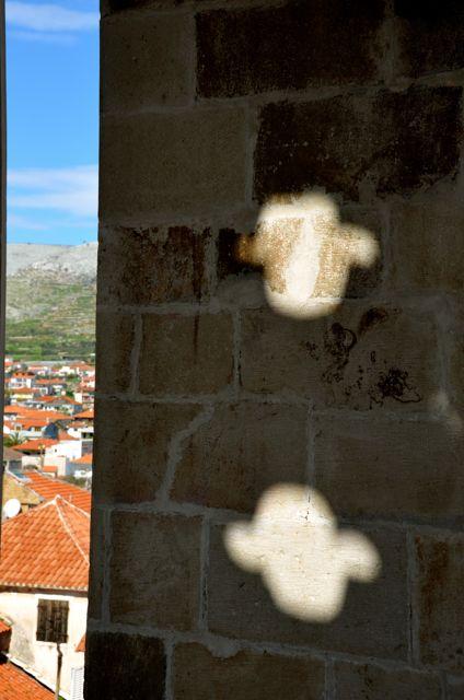 shadows in Trogir bell tower