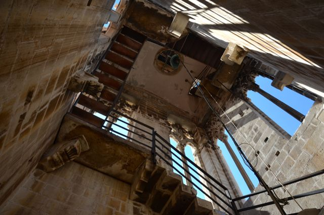 trogir stairwell of belltower with open windows