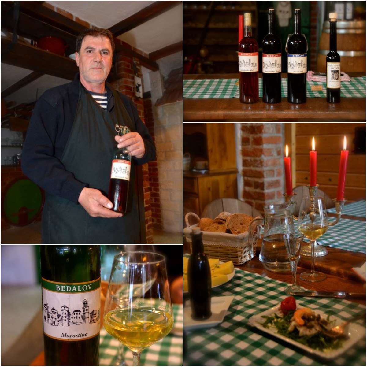 collage of pictures: man holding wine bottle, plates of food and wine bottles on table with candles