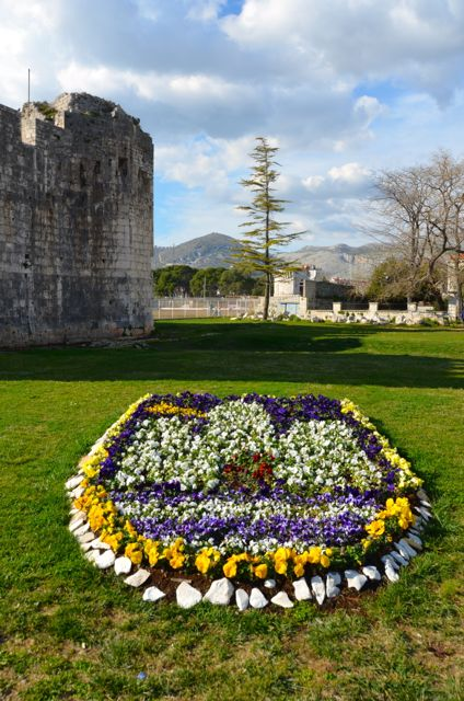 Kamerlengo Fortress and flowers, crest of city of Trogir