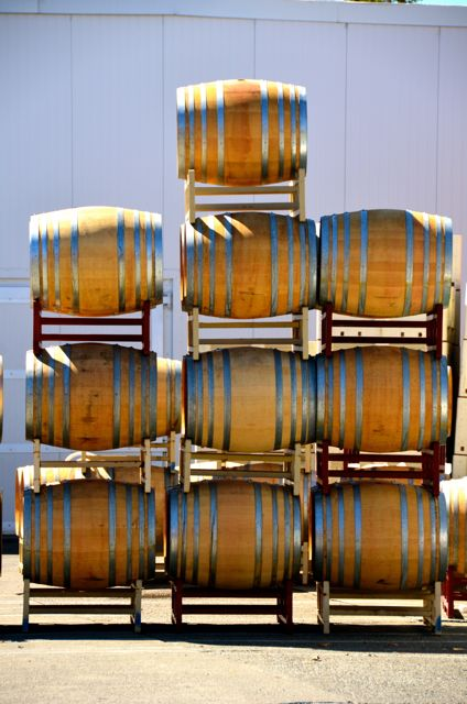 wine barrels stacked on each other