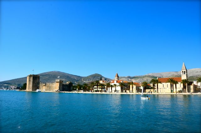 sail boat on Adriatic in front of city of Trogir