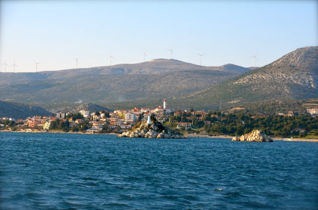 Croatian seaside town at sunset
