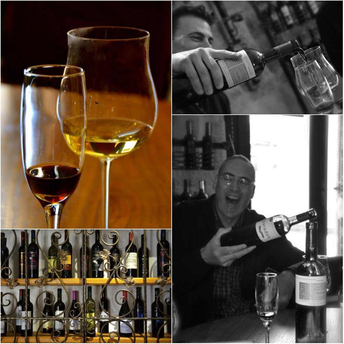 split wine bar collage