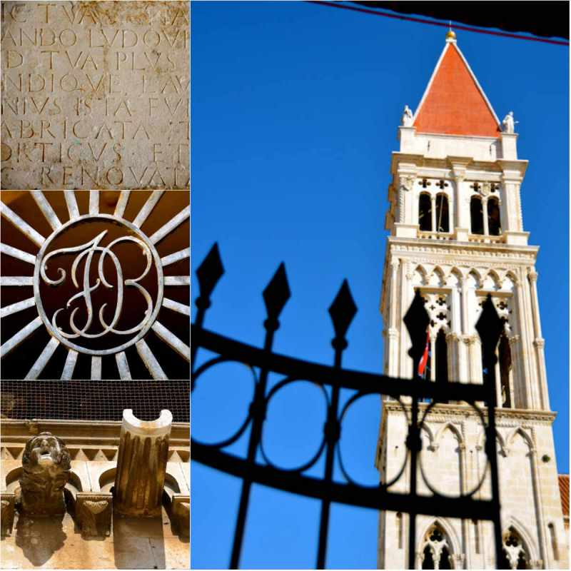 st. lawrence cathedral belltower, architectural details in trogir, croatia