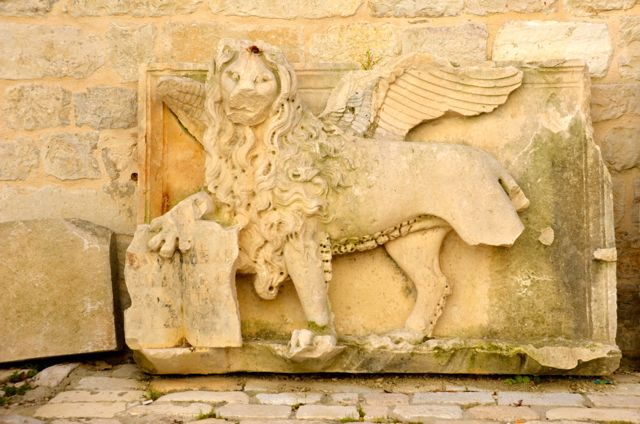 Winged Lion Frieze in Trogir, Croatia