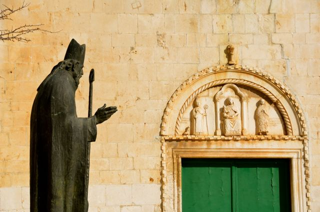 bishop statue in Trogir, Croatia