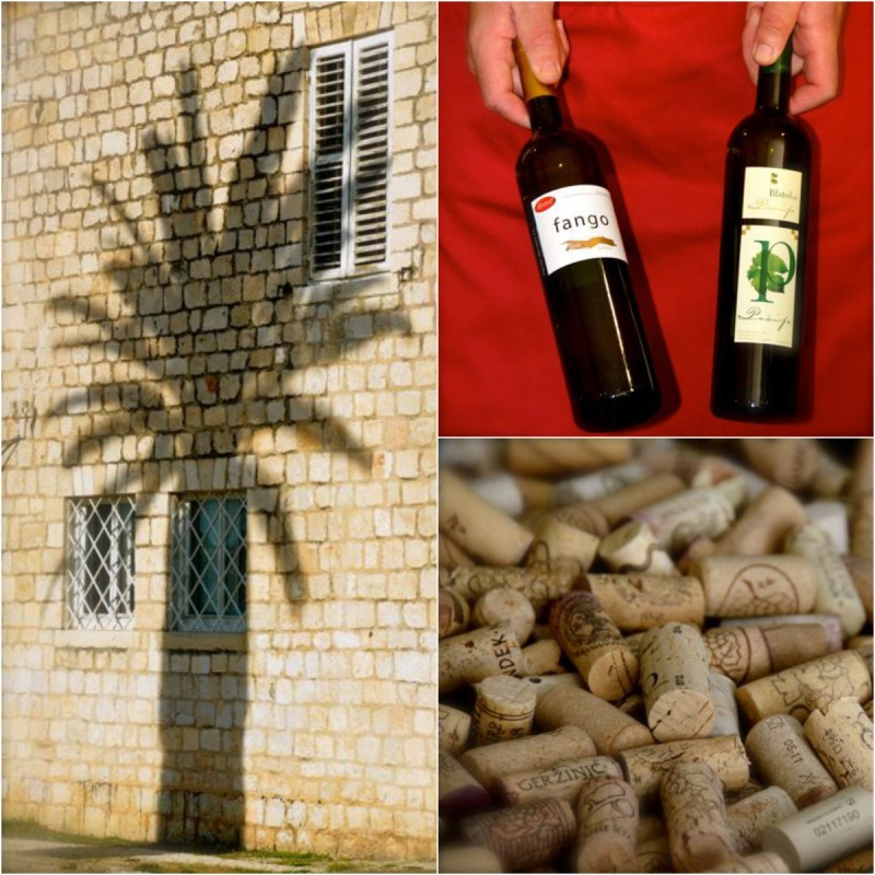 Scenes from Croatia: palm tree, man holding wine bottles and wine corks in barrel
