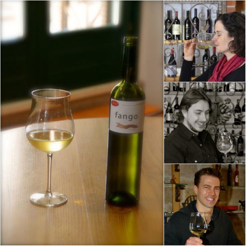 white wine in glass, people tasting white wine