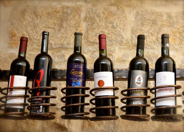 bottles of wine on display in Croatian wine bar