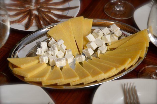 cheese on tray for wine tasting