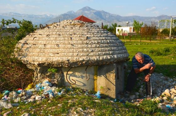 bunker and litter in albanian countryside
