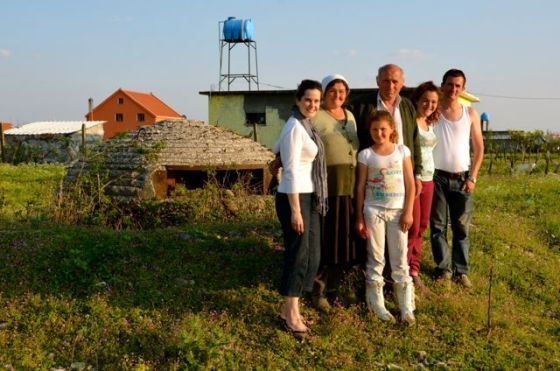 albanian family and tricia beside bunker