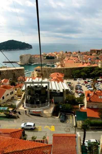 dubrovnik cable car and rooftops