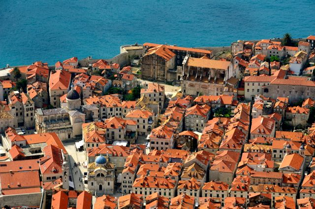 View of Dubrovnik Old Town rooftops from overhead