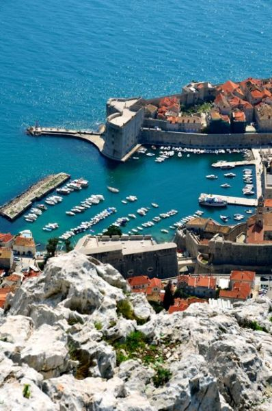 dubrovnik old harbor view from overhead