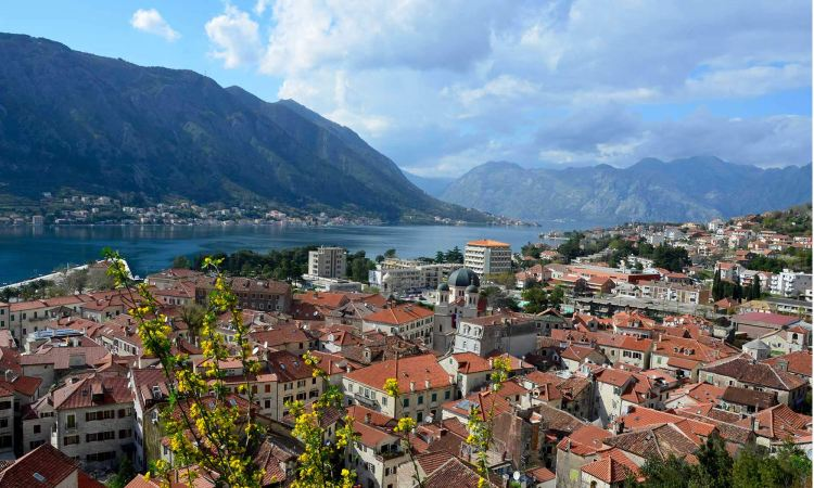 Overhead view of Kotor's terracotta rooftops, as seen from the Hill of St. John.
