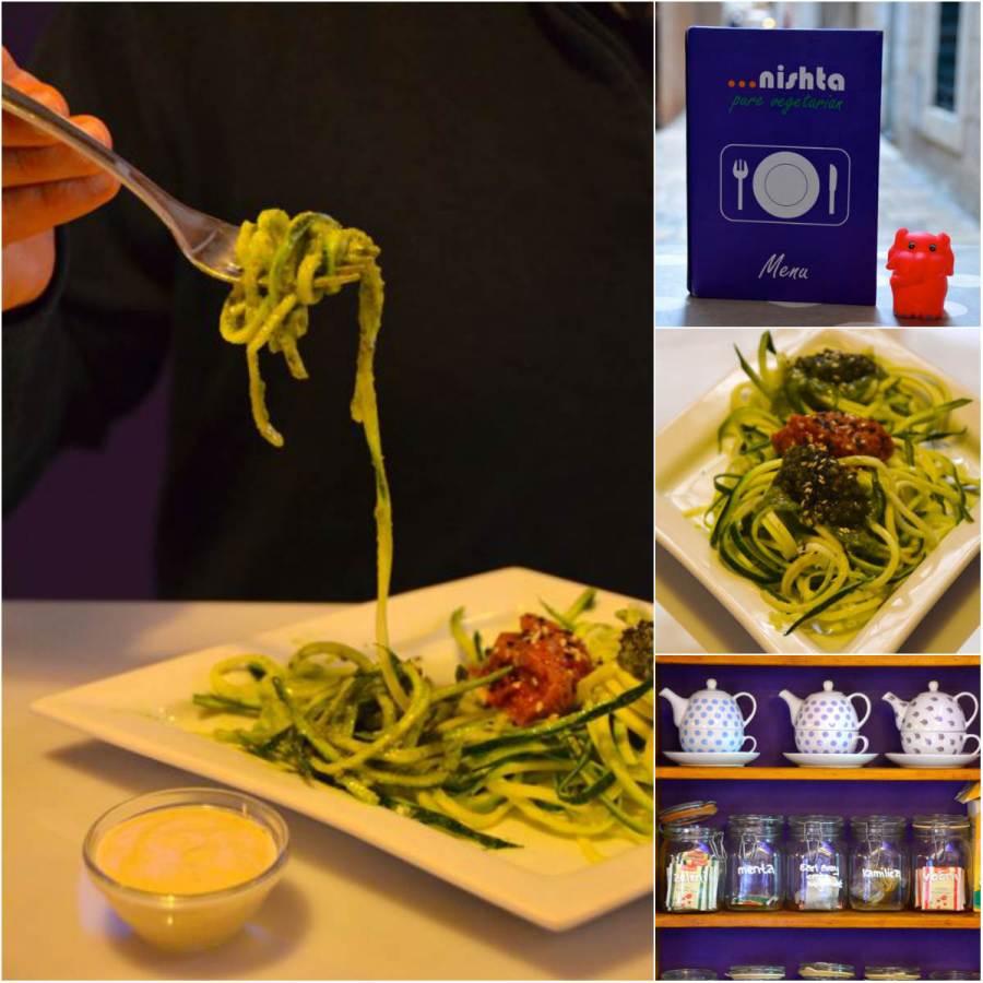 gluten free zucchini spaghetti at nishta restaurant in dubrovnik