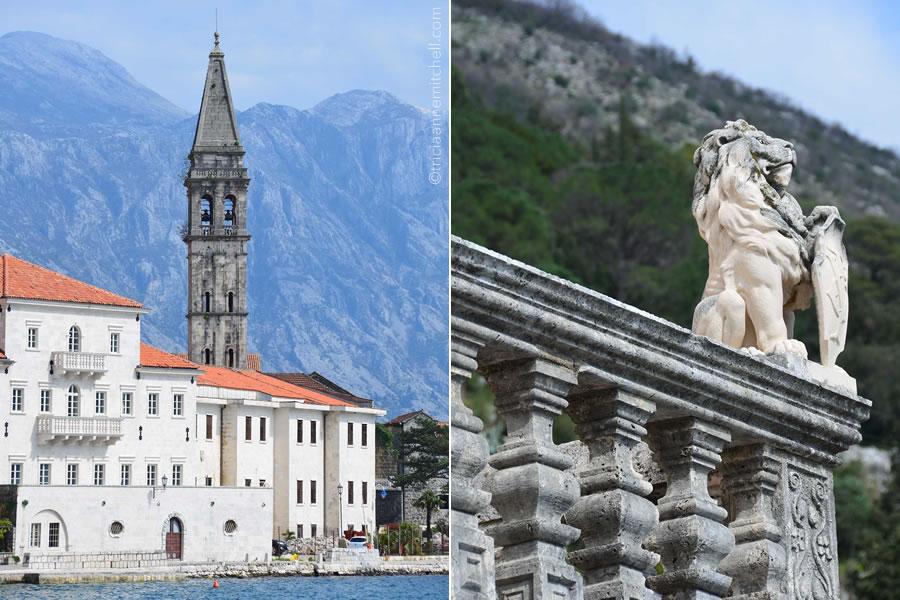 Perast Montenegro church steeple lion